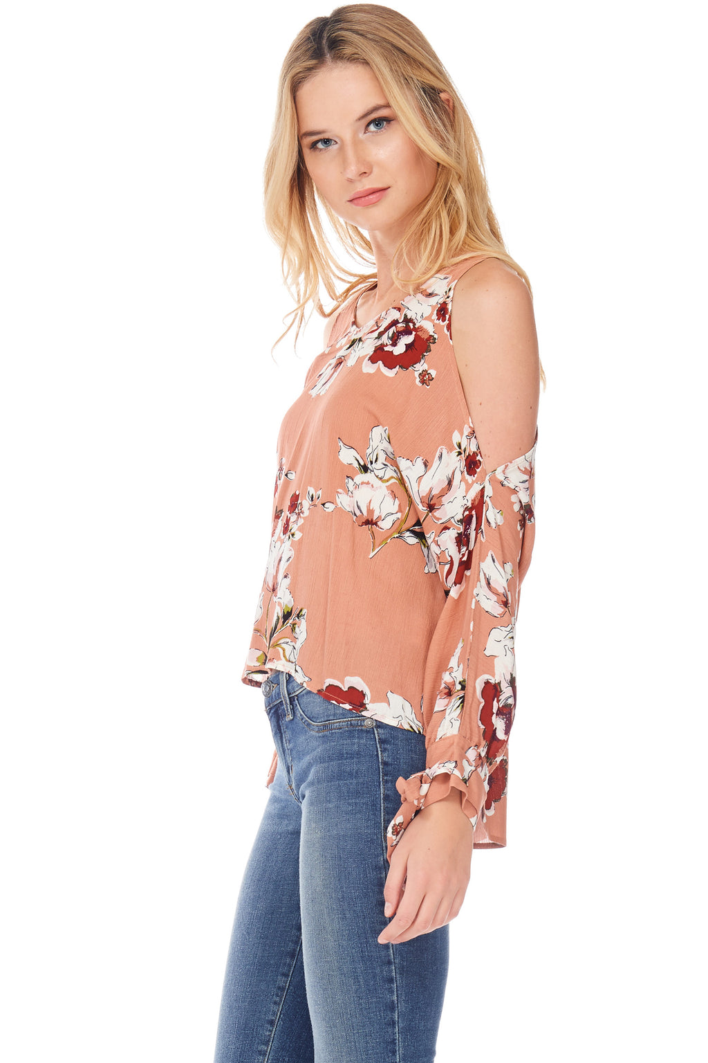 S18-027 Cold Shoulder Floral Top