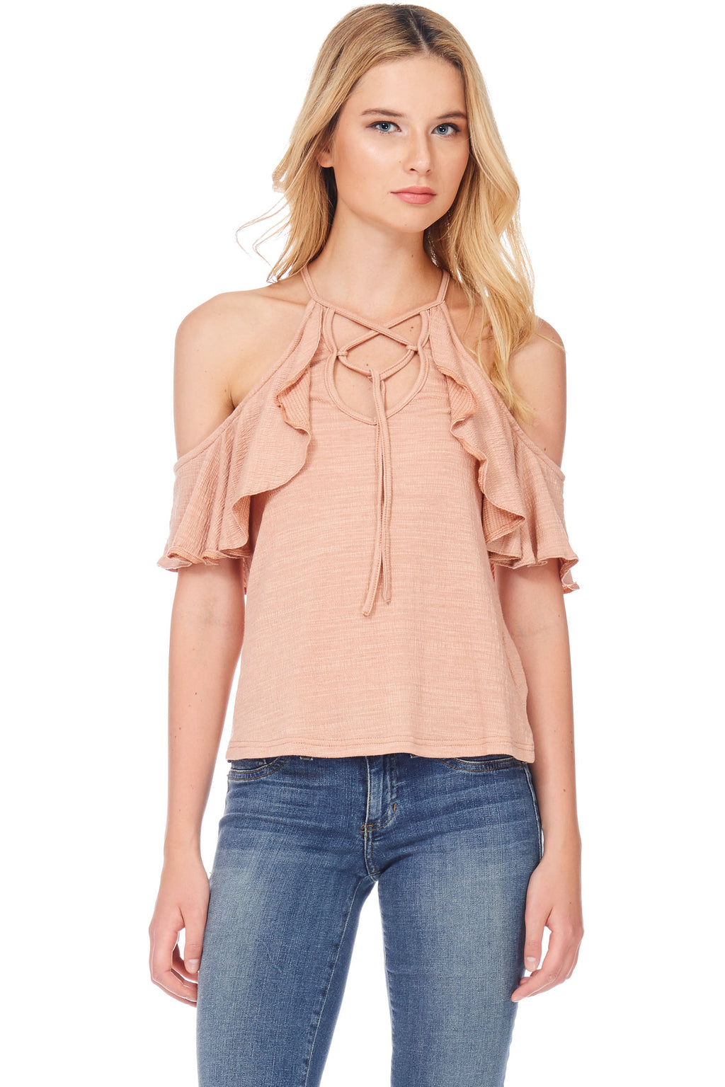S18-066 Cold Shoulder Ruffle Top