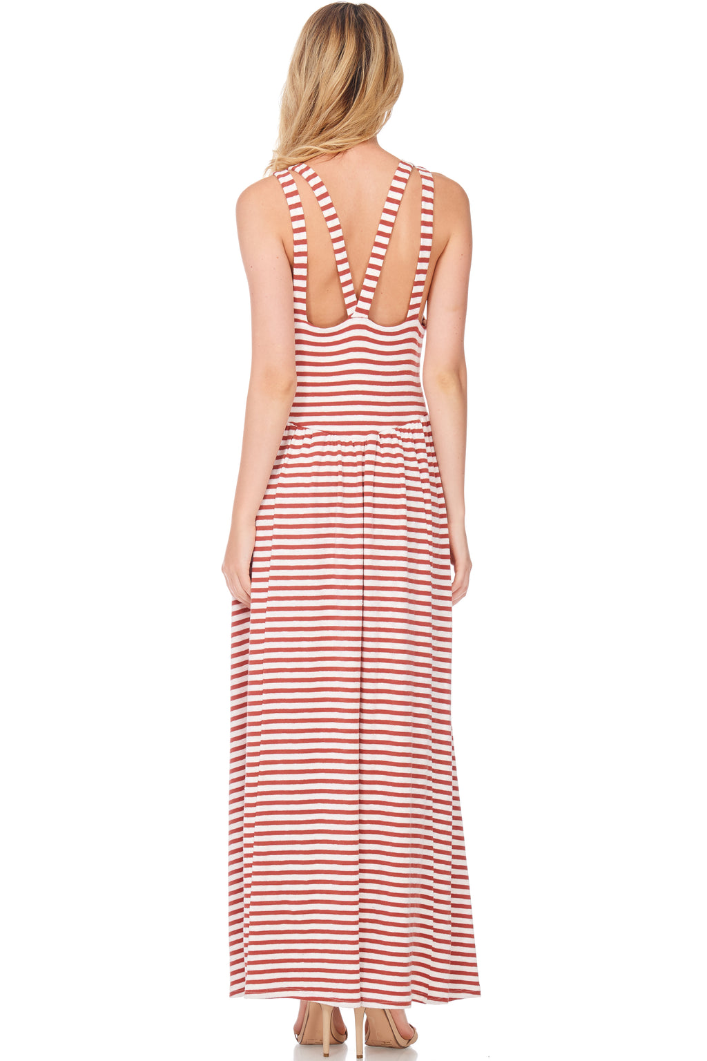 S18-112 Contrast Striped Maxi Dress