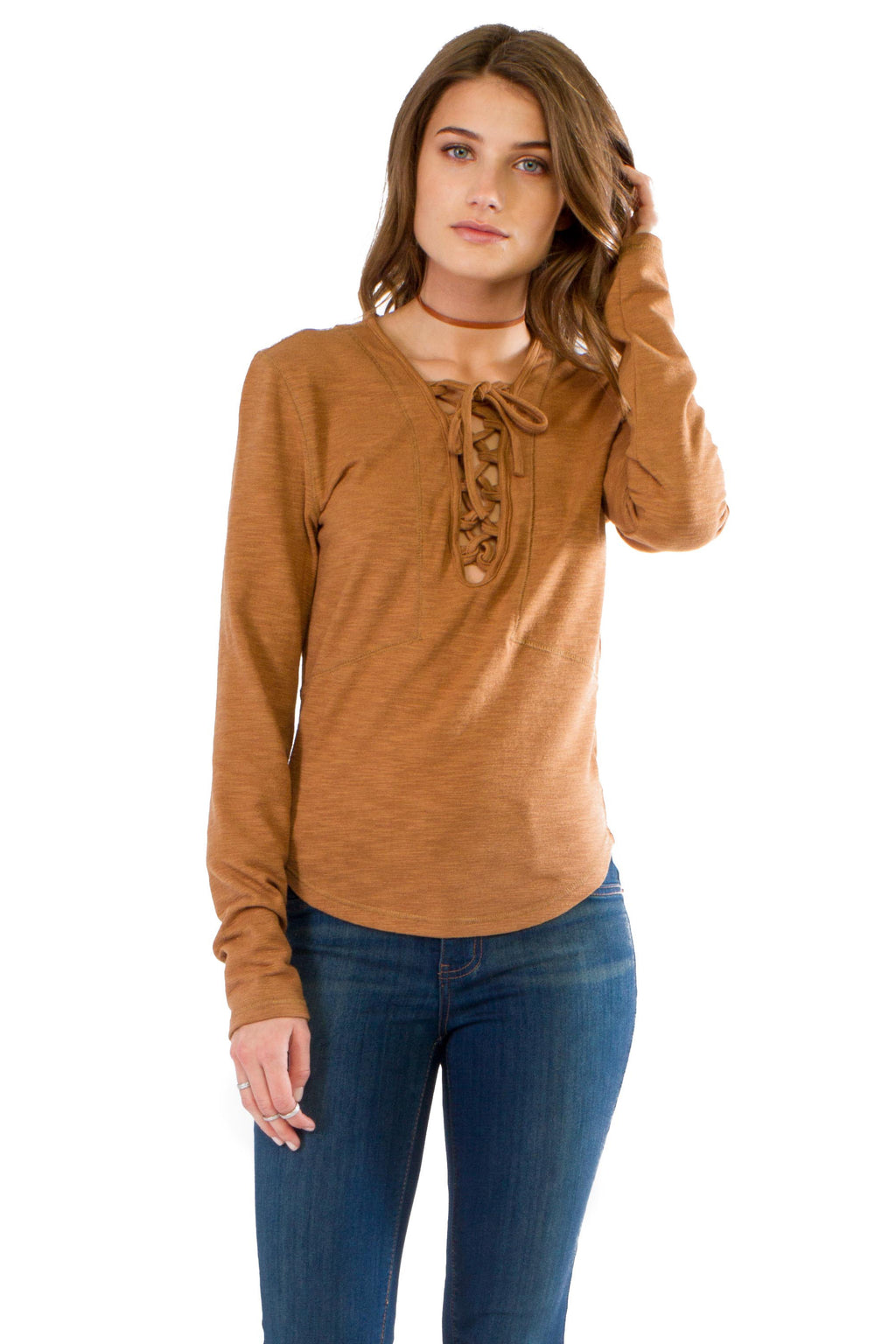 W17-008 Lace Up Henley