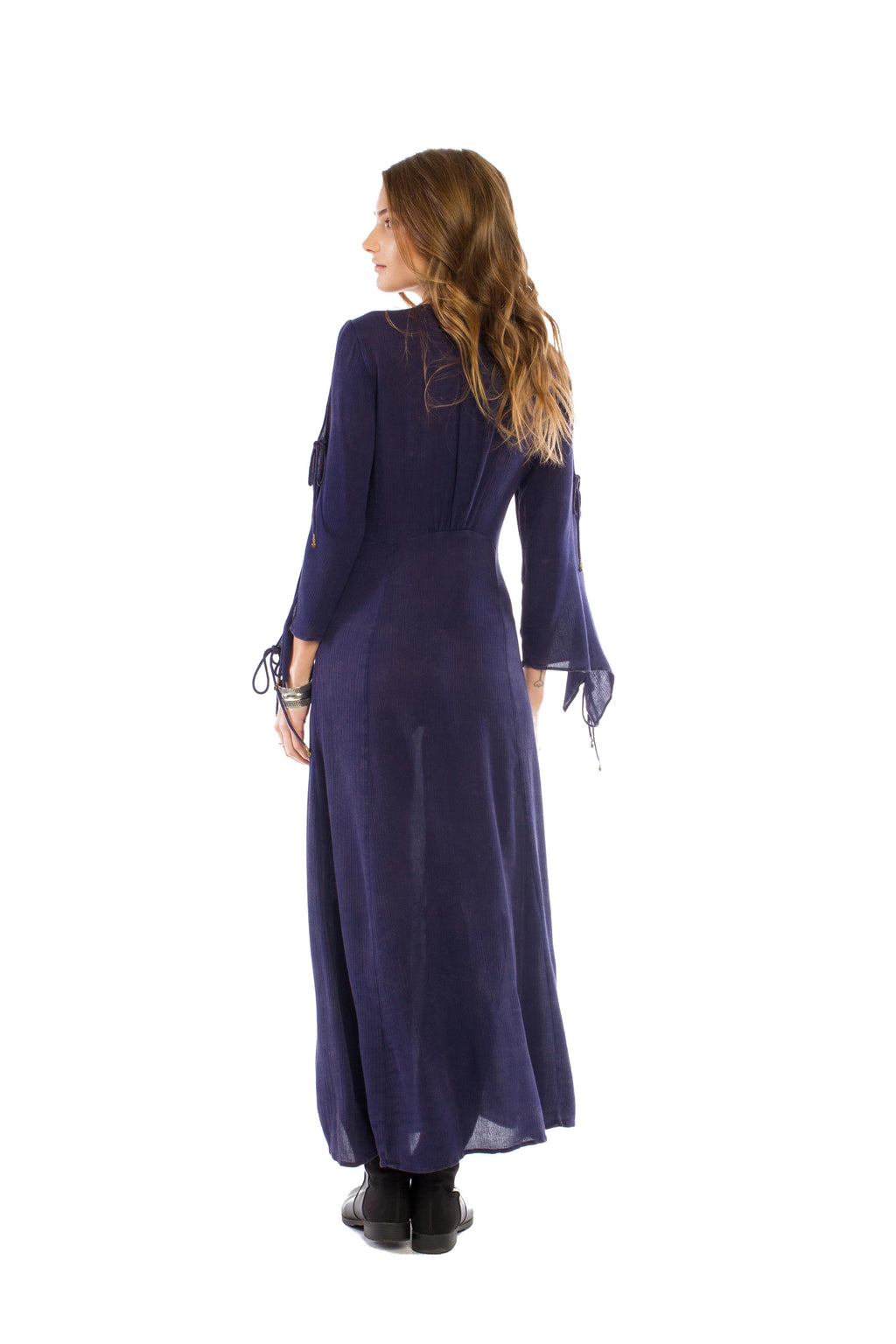 W17-154 Plunging Empire Waist Maxi Dress