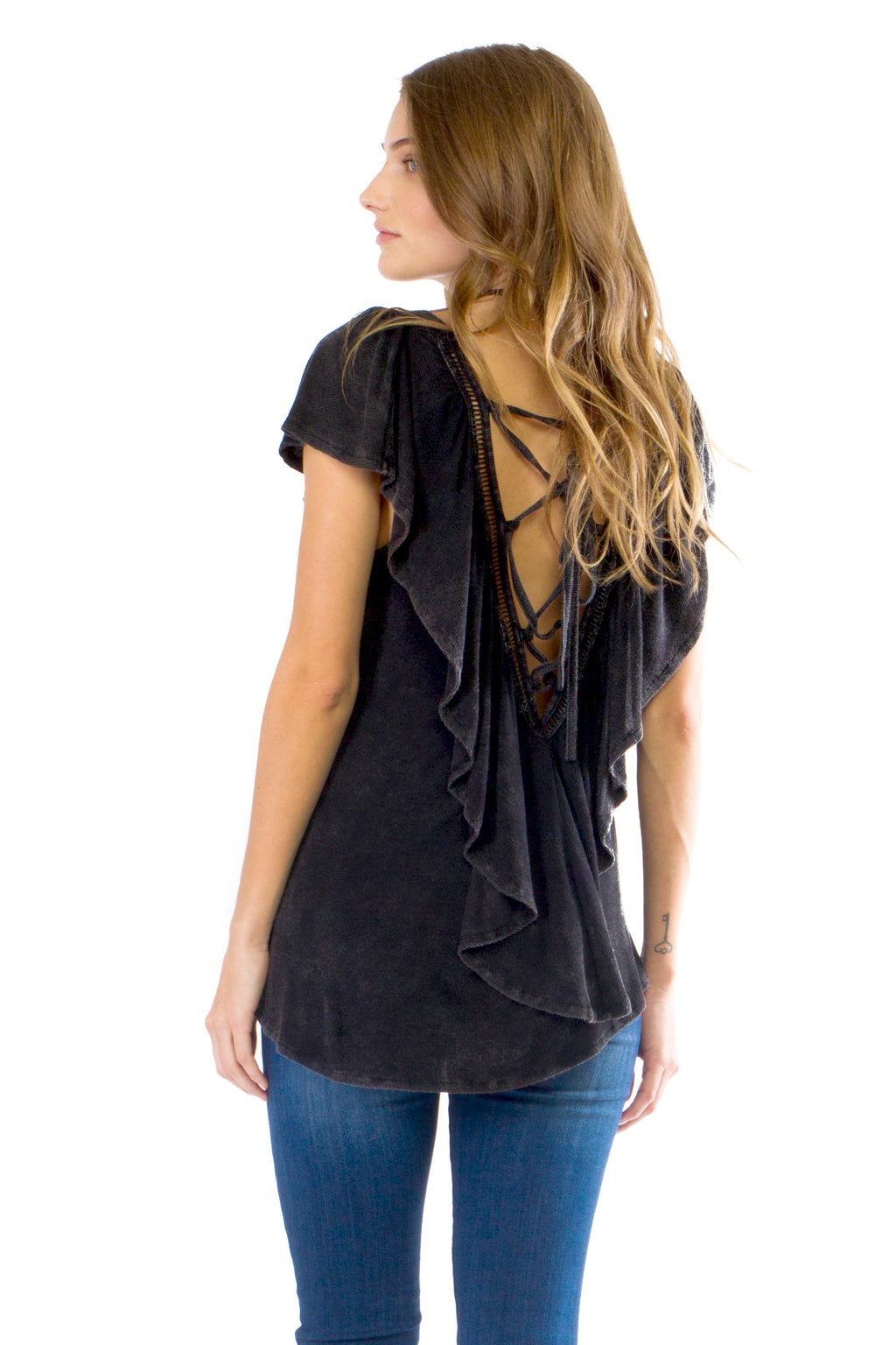 W17-278 Lace Up Back Ruffle Tee