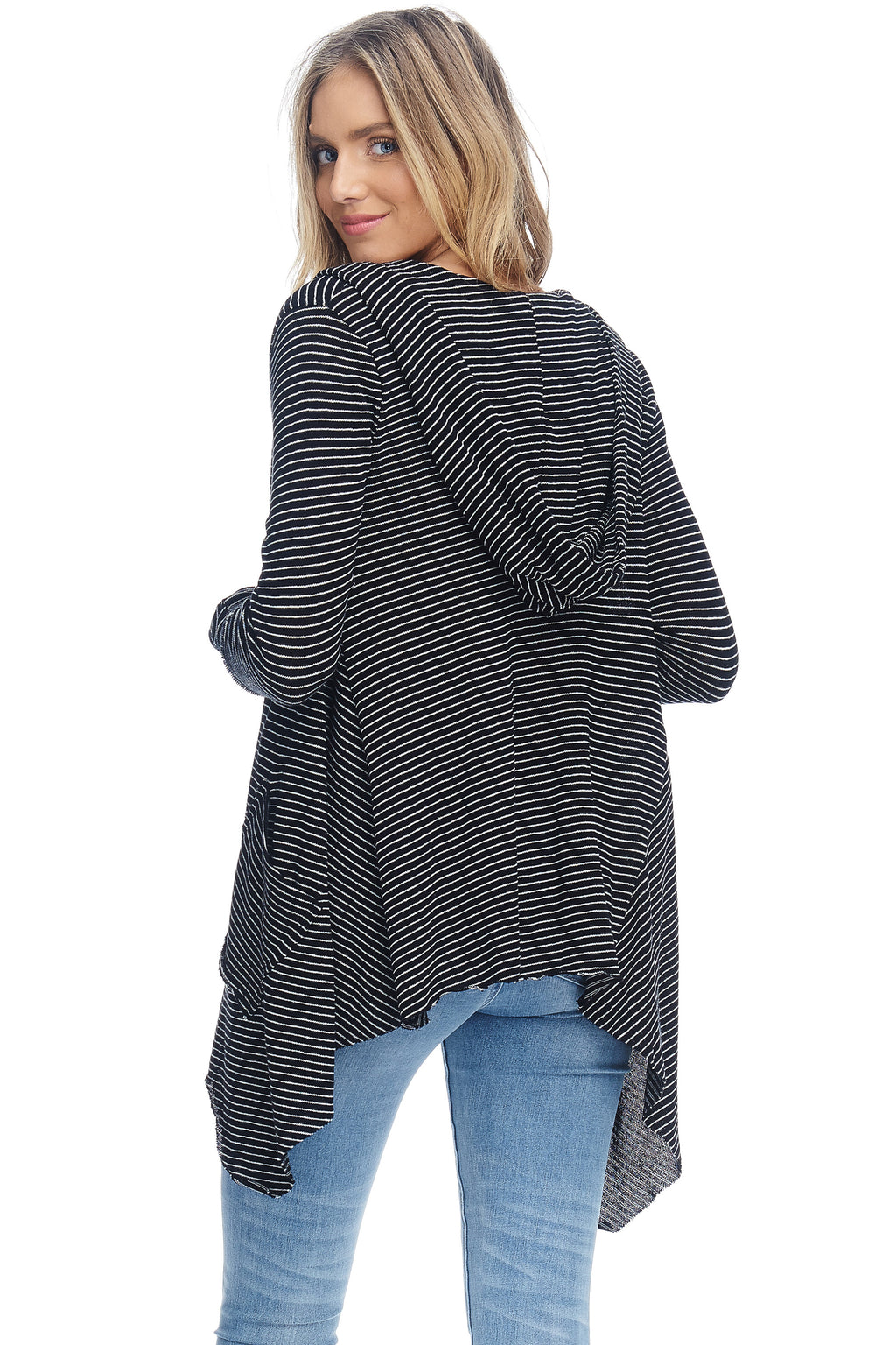 W18-007 Striped Hooded Cardigan