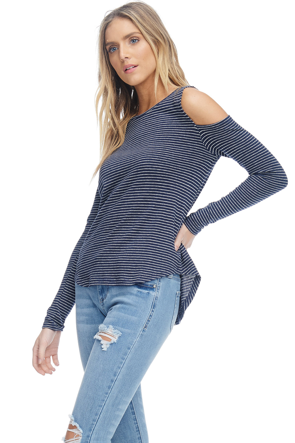W18-008 Striped Cold Shoulder Top