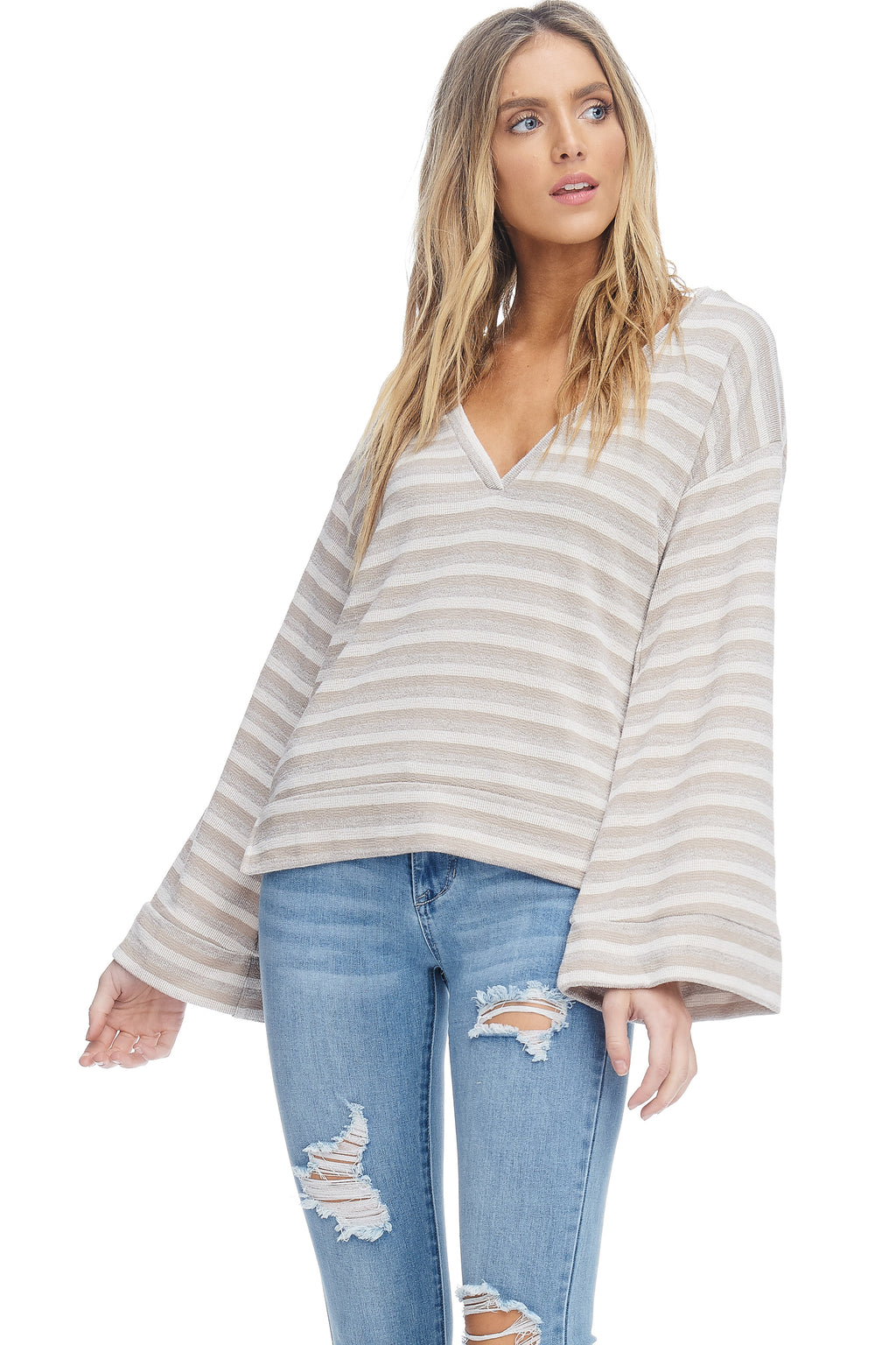 W18-032 Striped Bell Sleeve Sweater