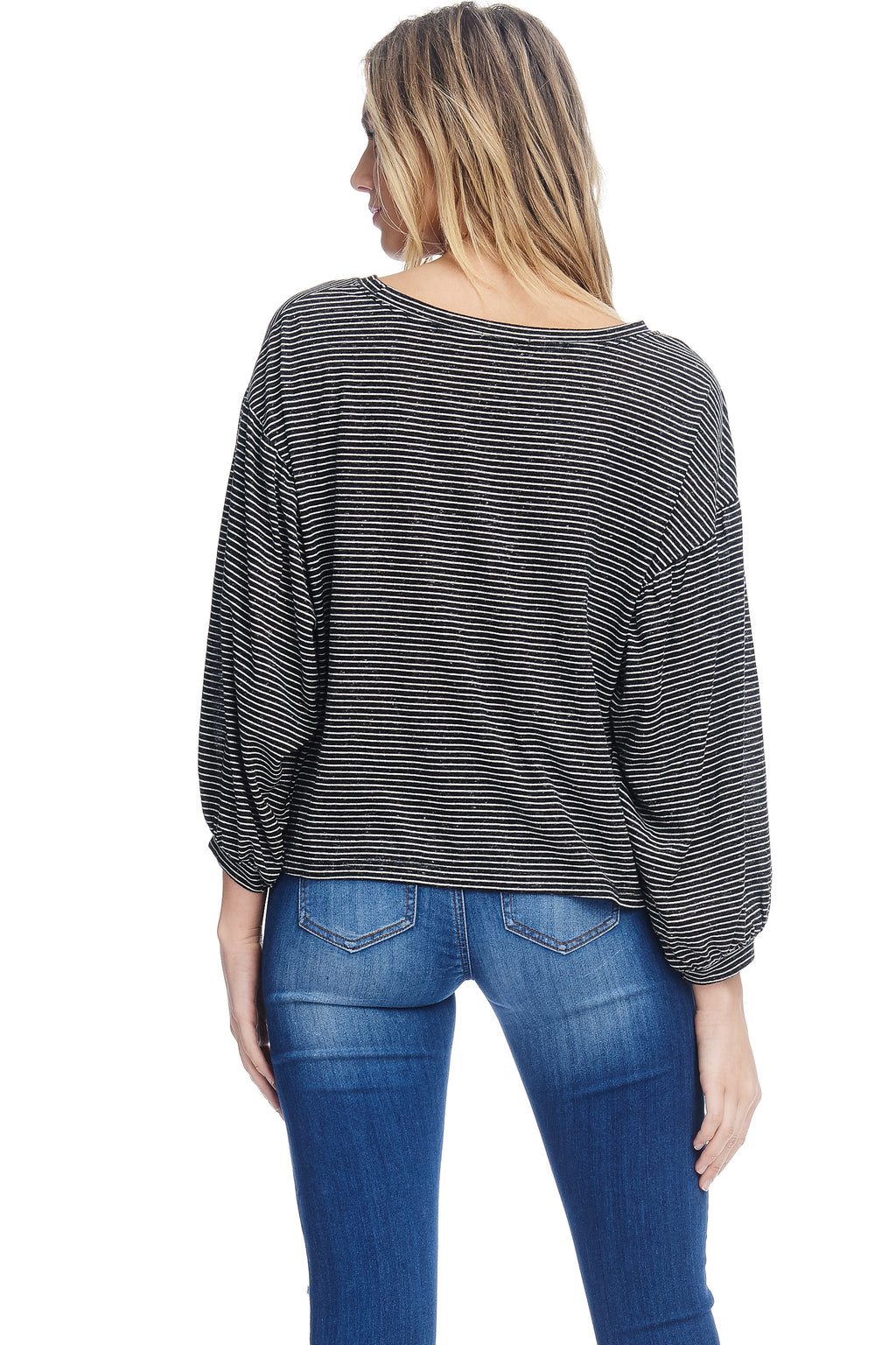 W18-034 Striped Bishop Sleeve Blouse