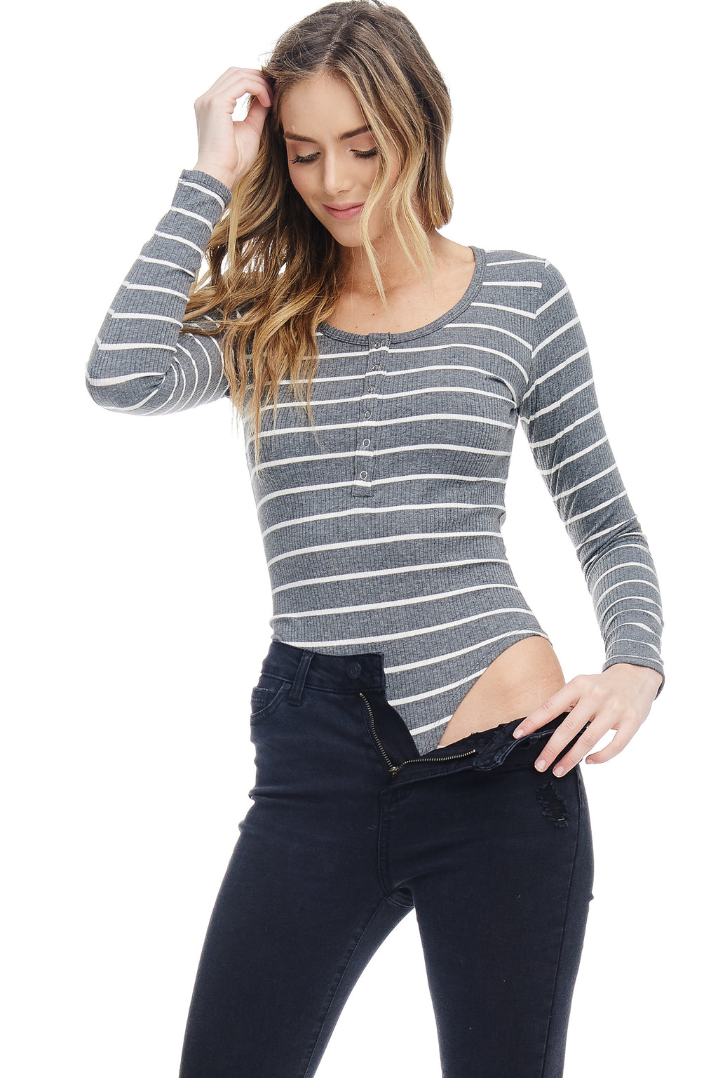 W18-041 Striped Long Sleeve Bodysuit