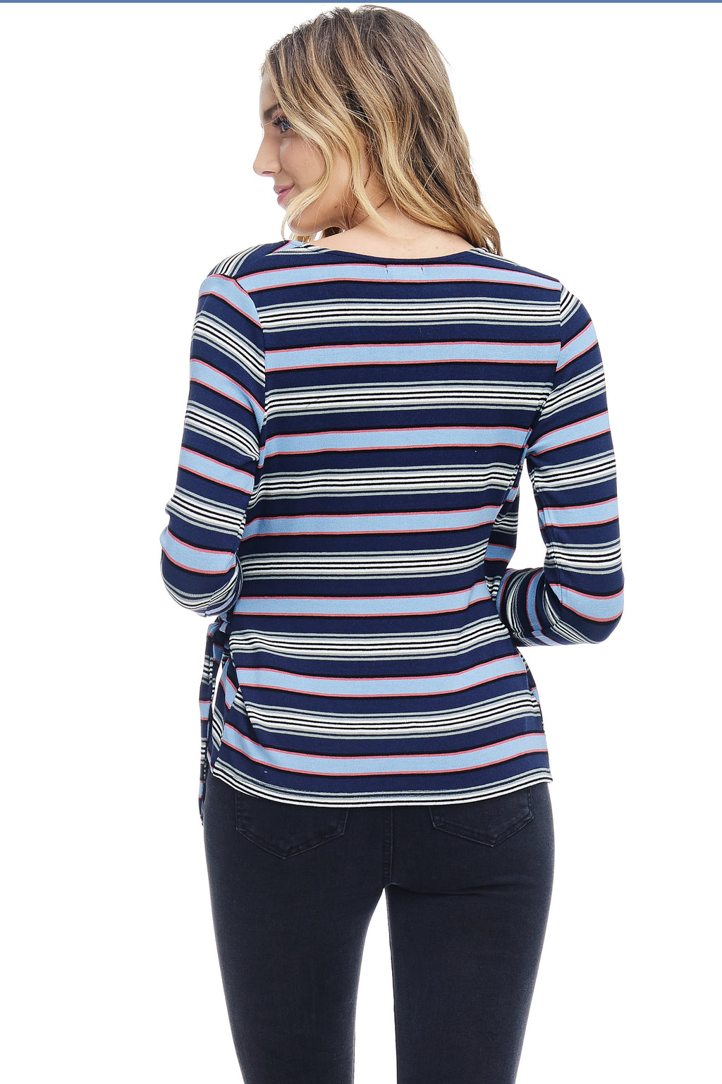 W18-056 Striped Wrap Top