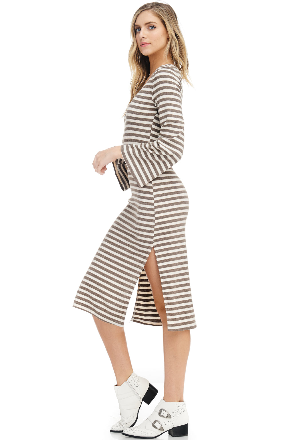 *Pre-Order* W18-057 Striped Bell Sleeve Dress