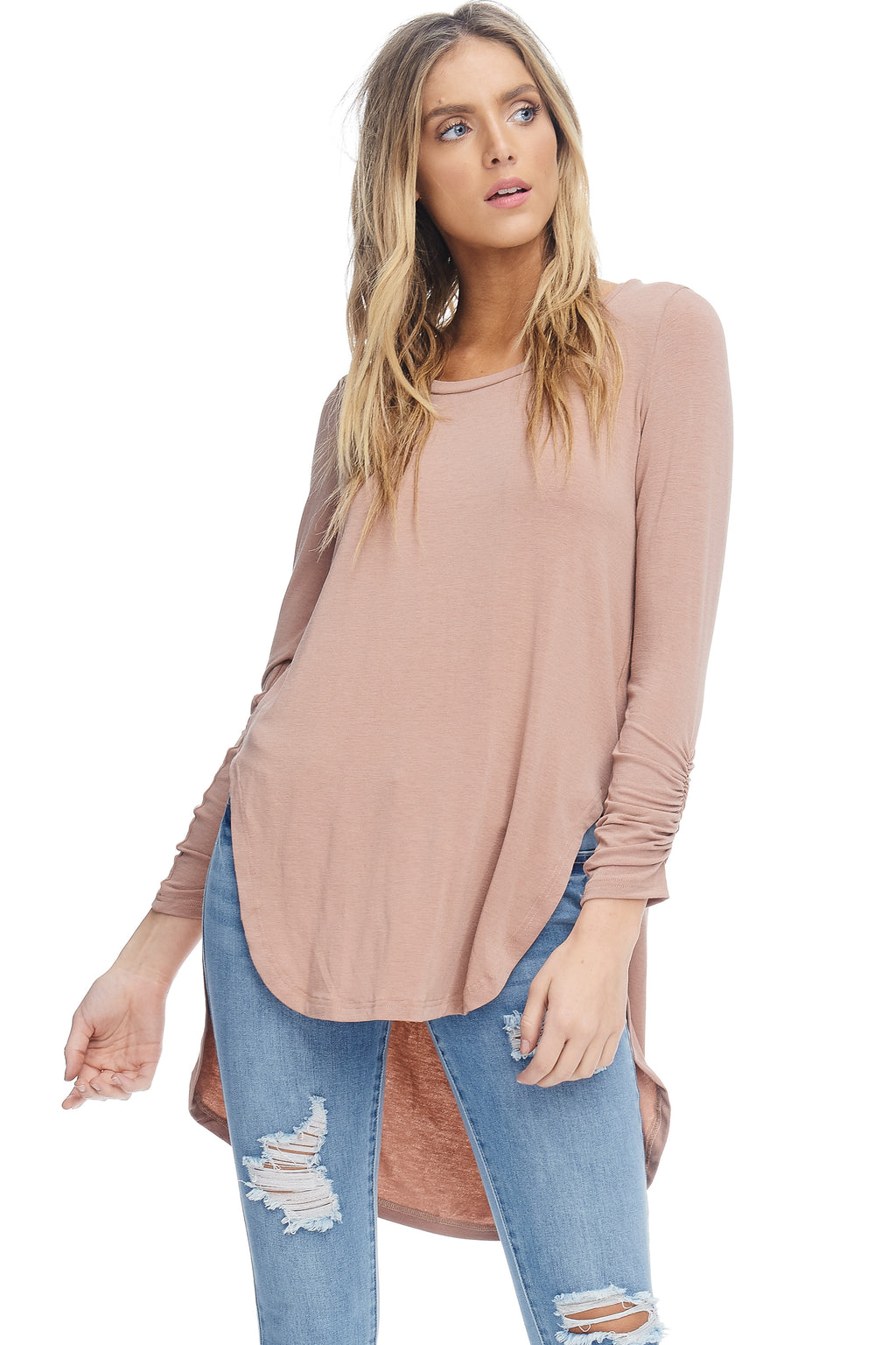W18-070 Ruched Sleeve Slouch Sweater