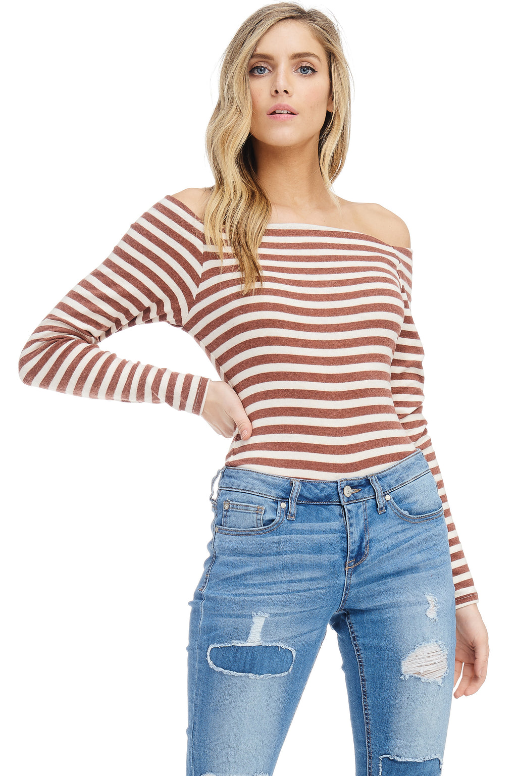*Pre-Order* W18-077 Striped Off-Shoulder Bodysuit