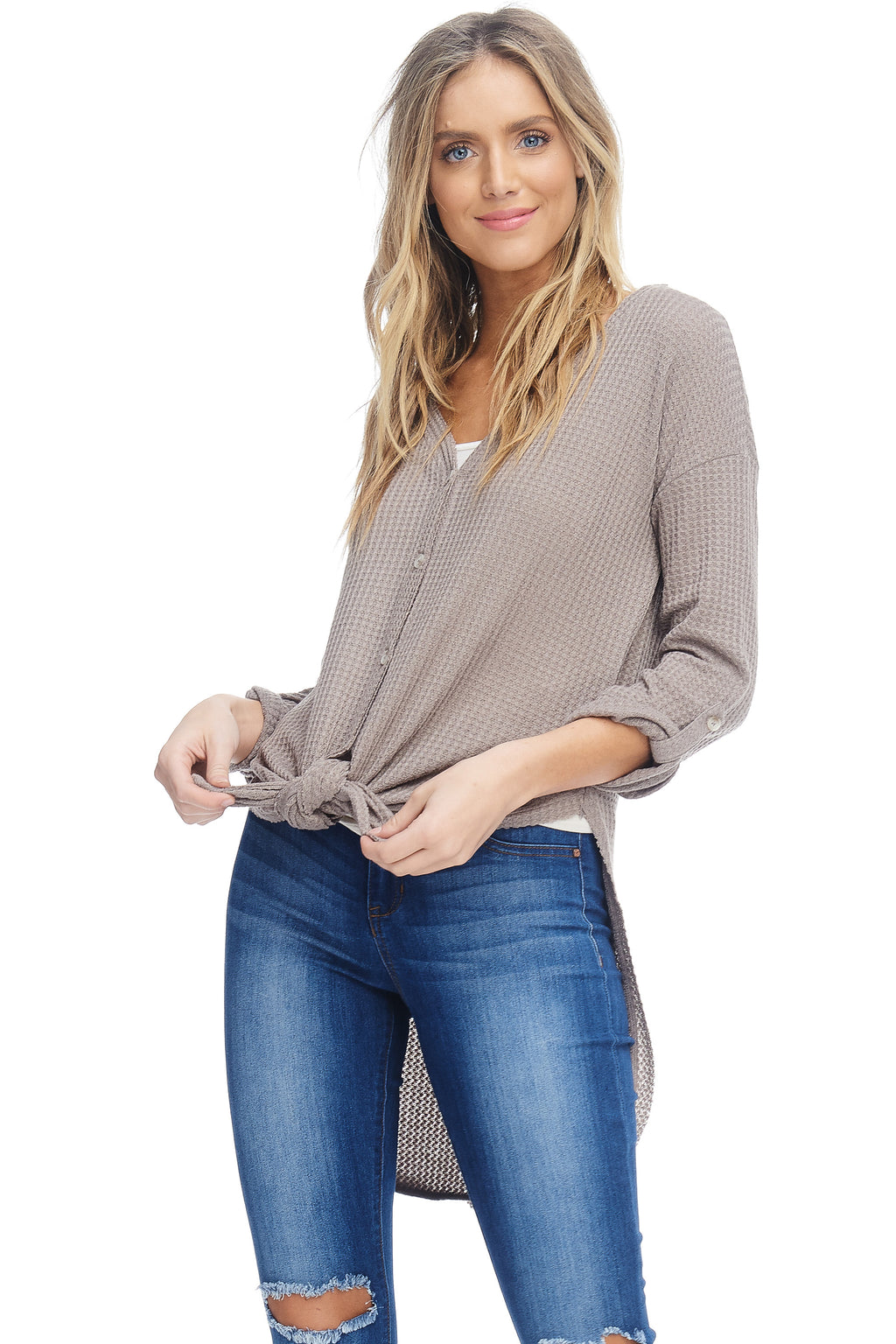 W18-085 High-Low Buttoned Sweater