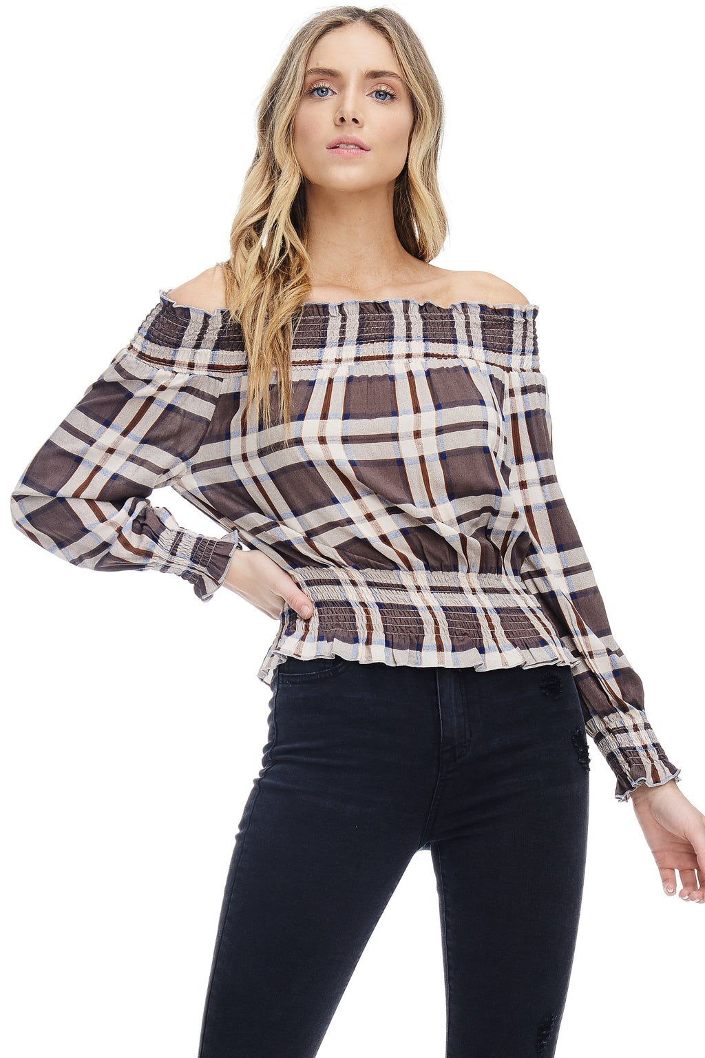 *Pre-Order* W18-087 Plaid Off Shoulder Blouse