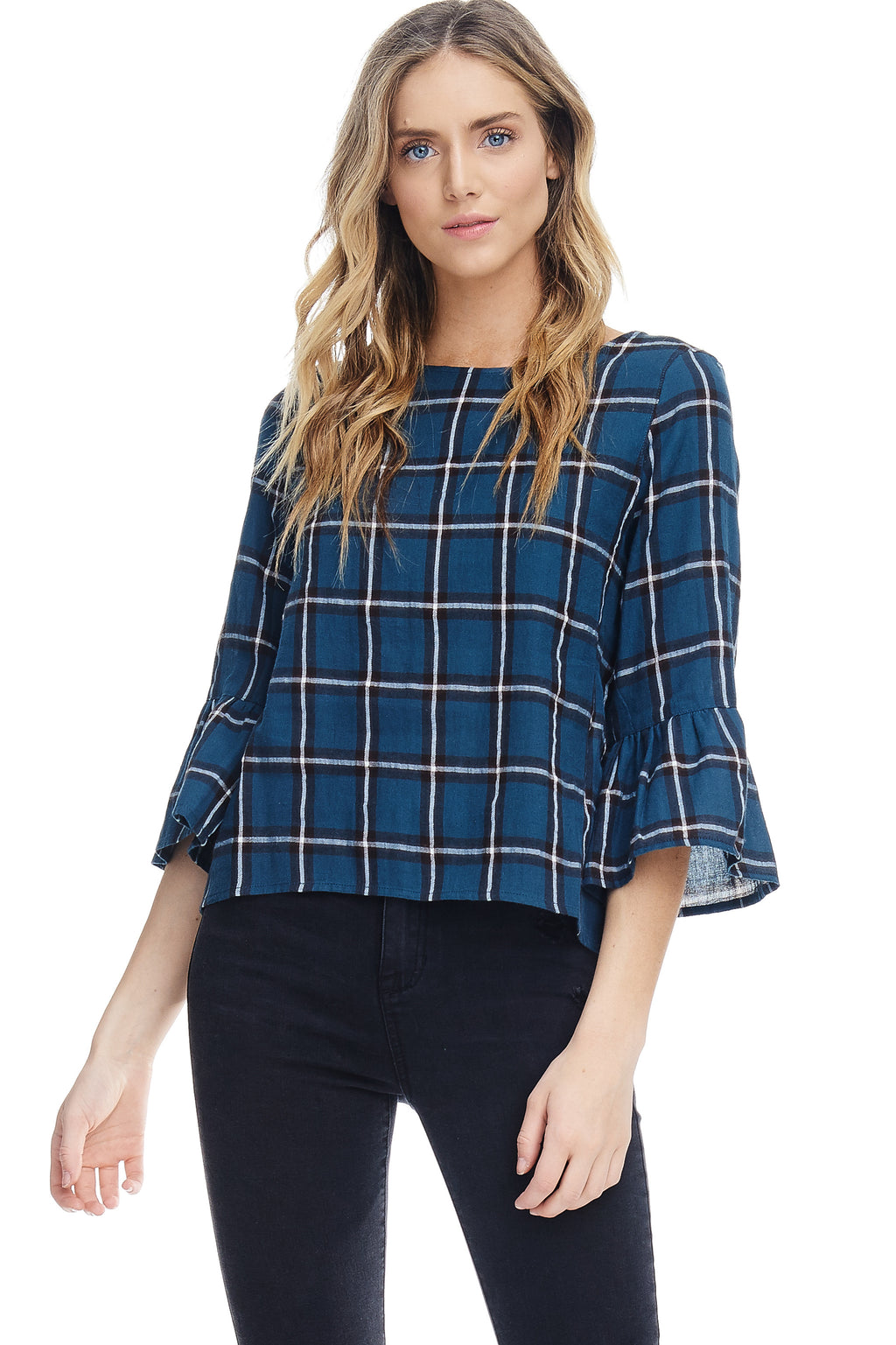 W18-088 Plaid Ruffle Sleeve Blouse