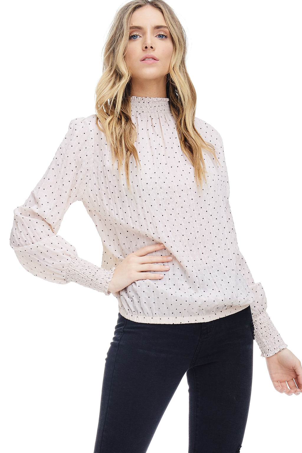 W18-089 Polka Dot Sheer Blouse