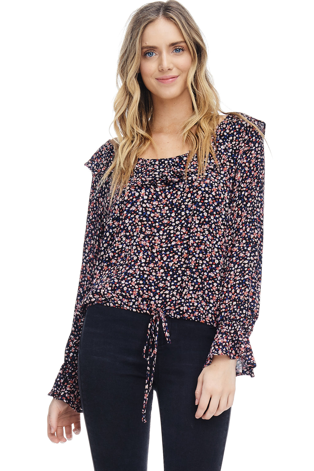 W18-100 Floral Ruffled Blouse