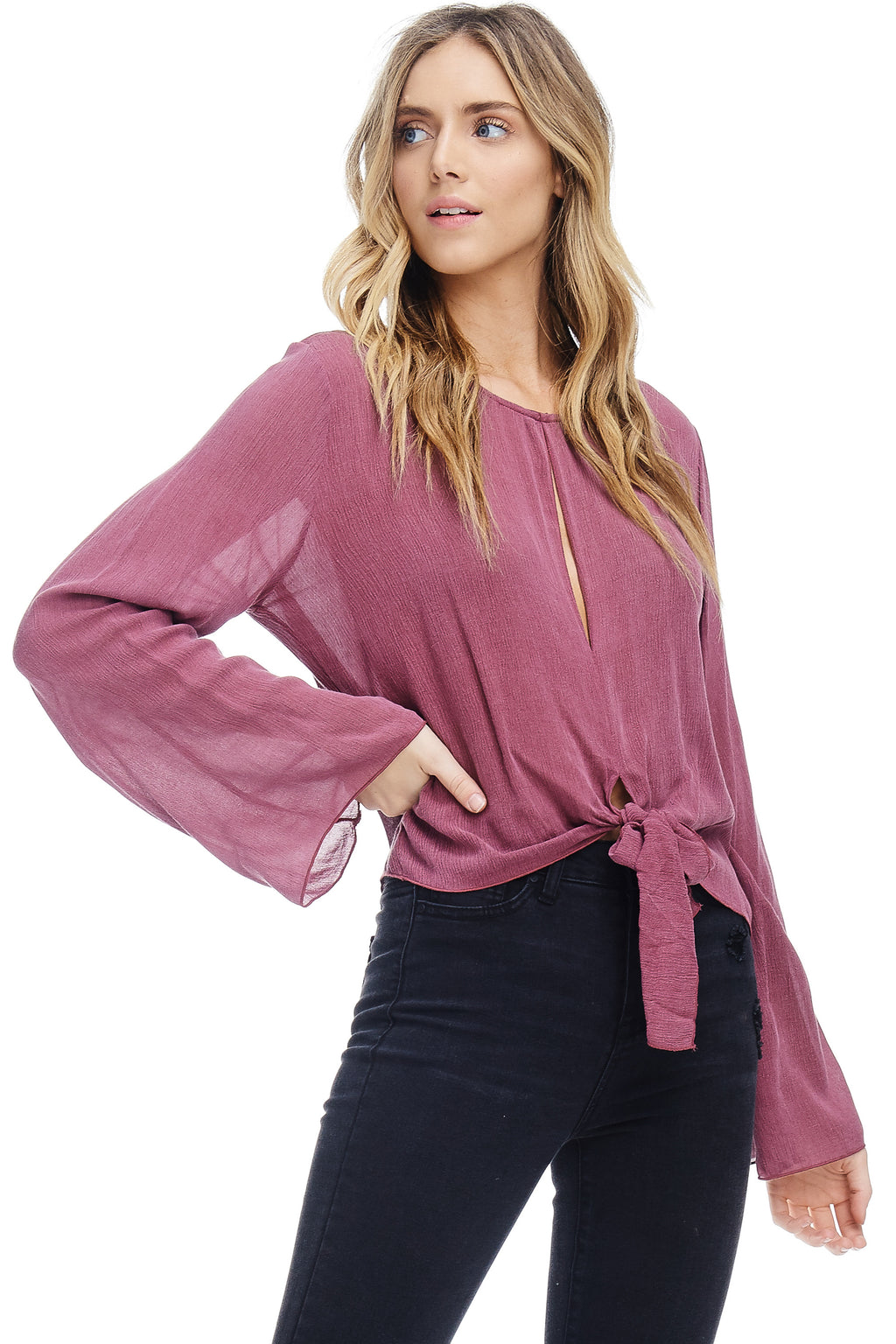 W18-108 Peephole Knotted Blouse