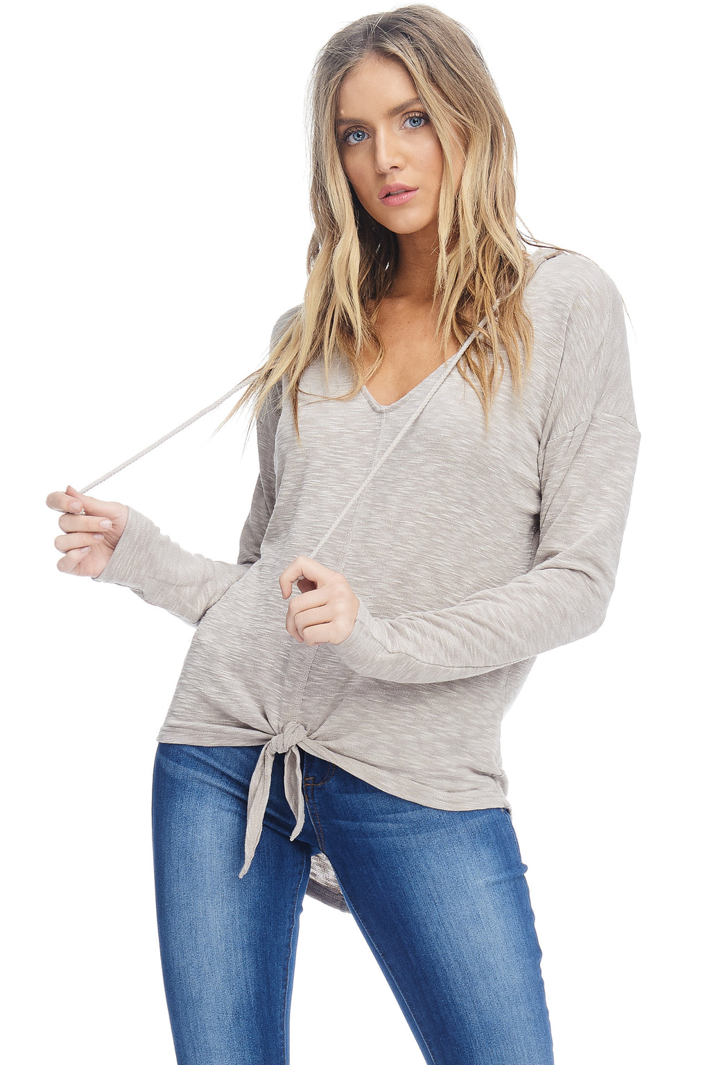 W18-113 Hooded Knotted Sweater