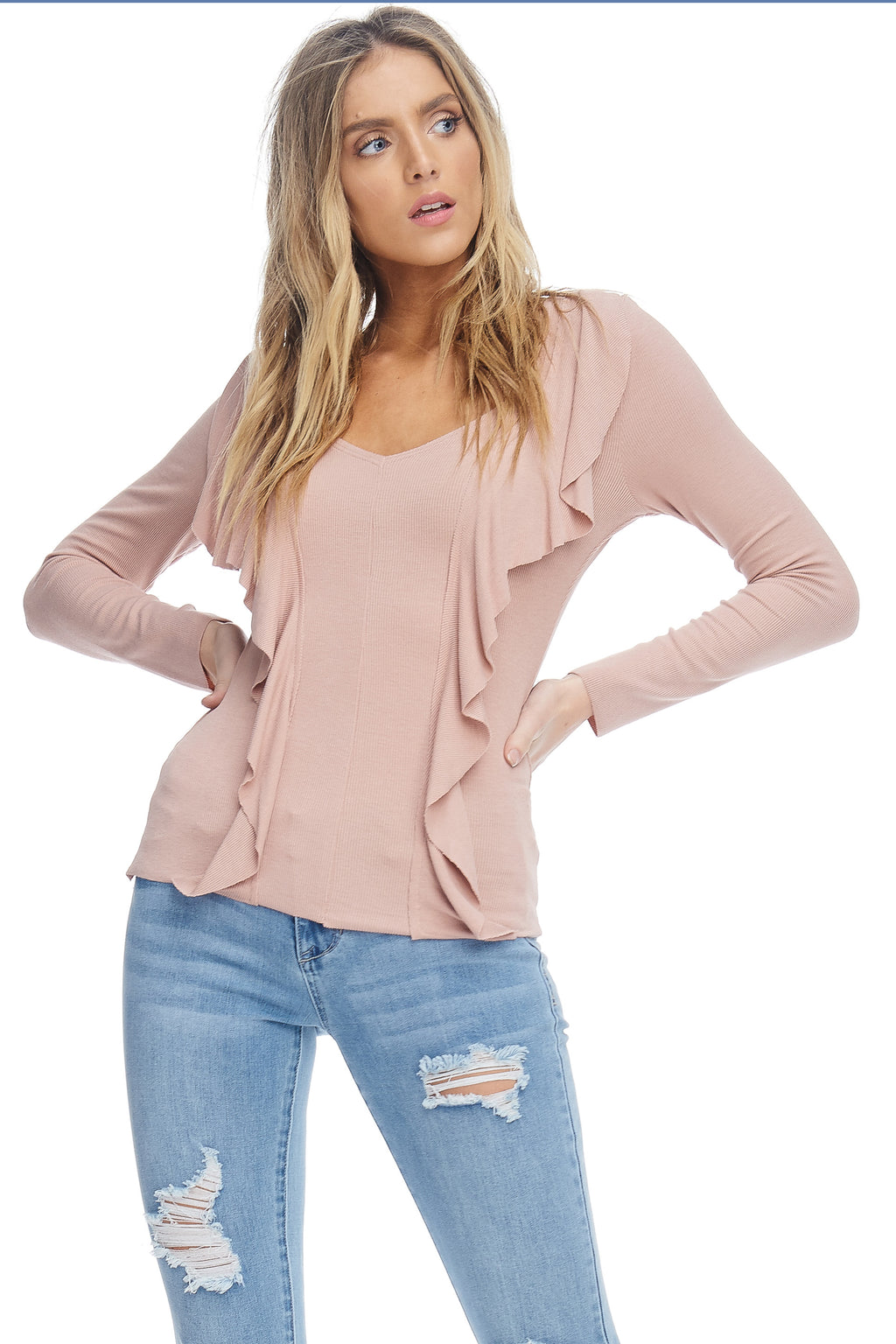 W18-120 Fitted Ruffle Seam Blouse