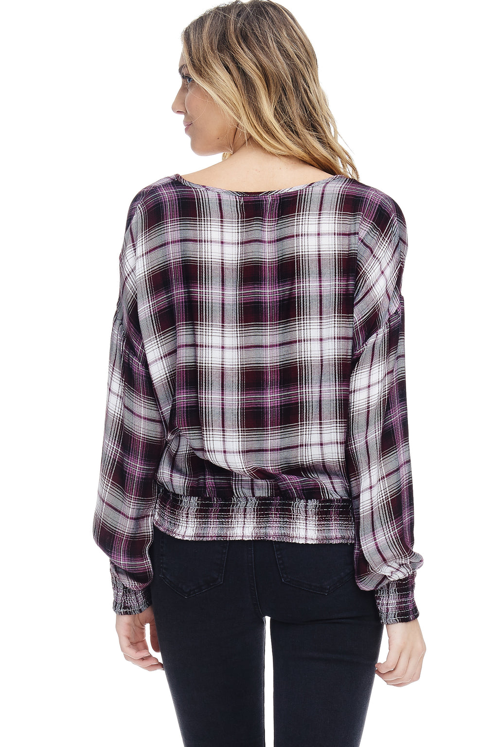 W18-122 Plaid Surplice Blouse