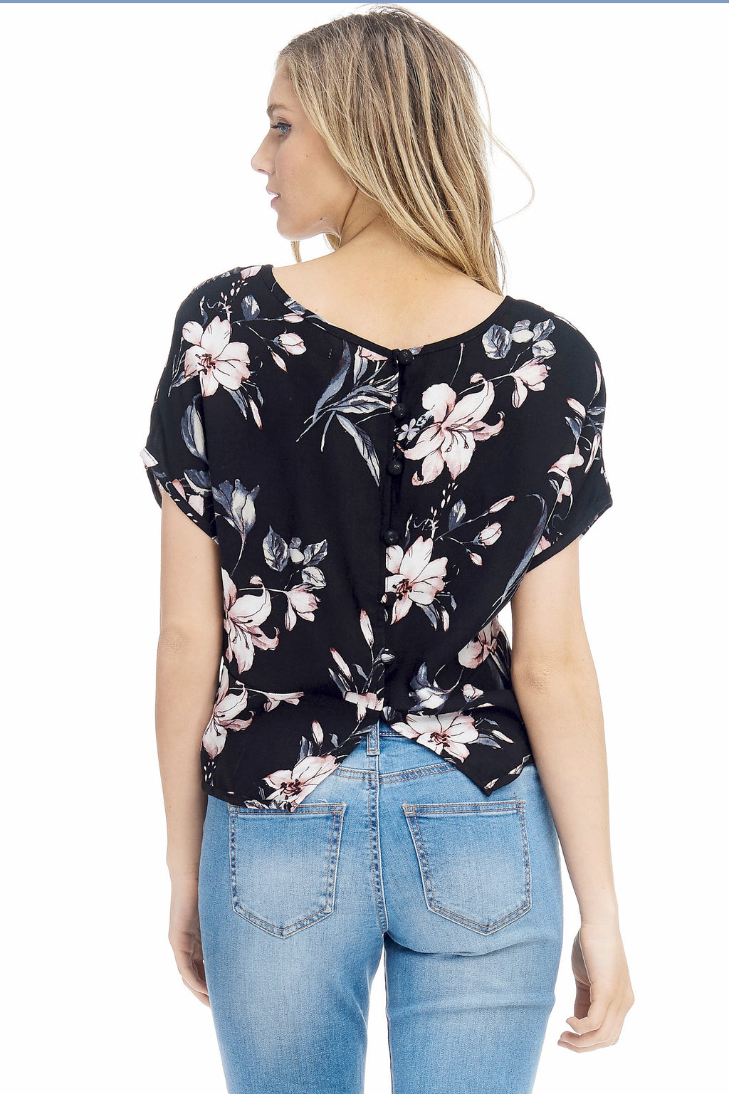 *Pre-Order* W18-155 Floral Button Back Blouse