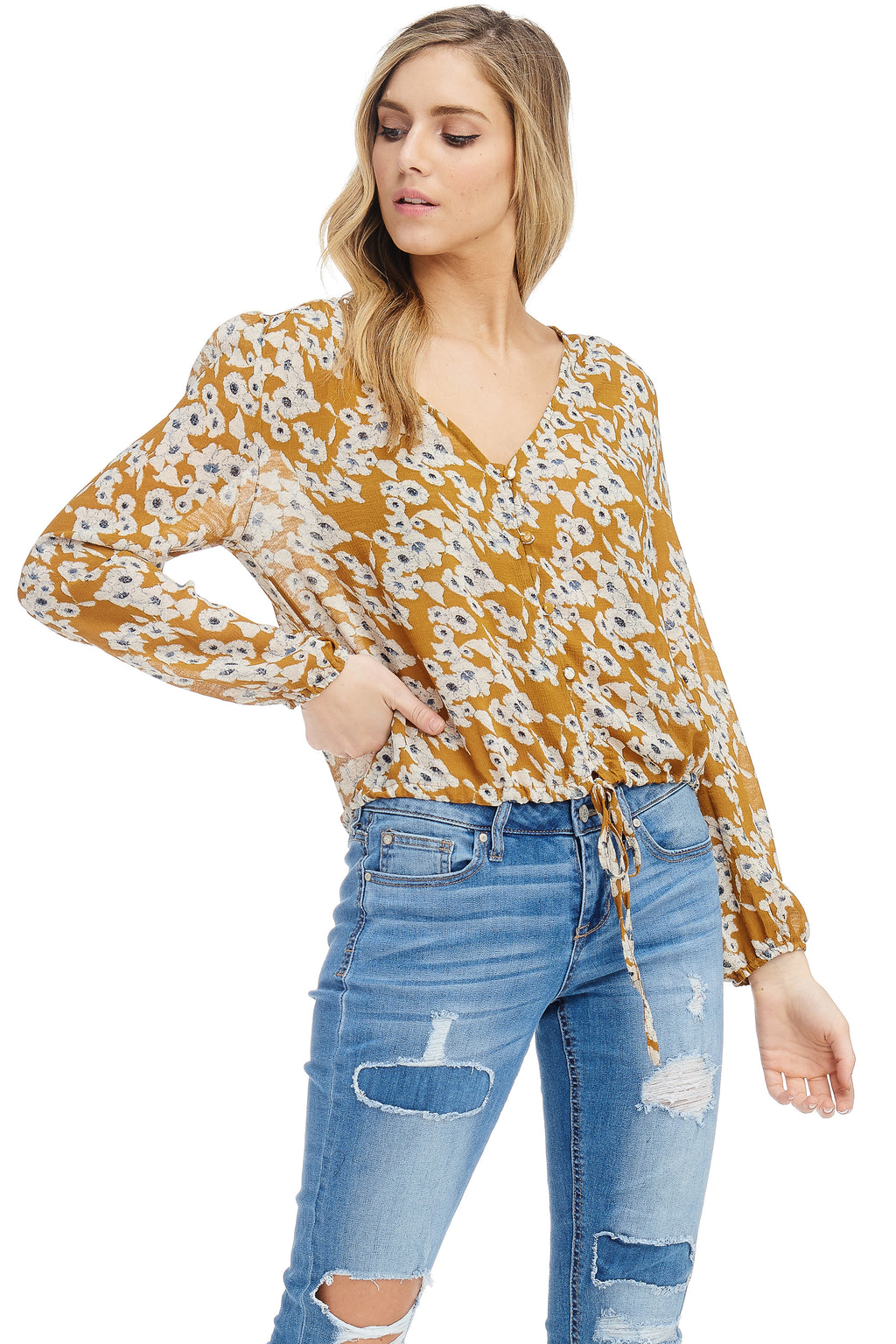 *Pre-Order* W18-158 Floral Buttoned Top
