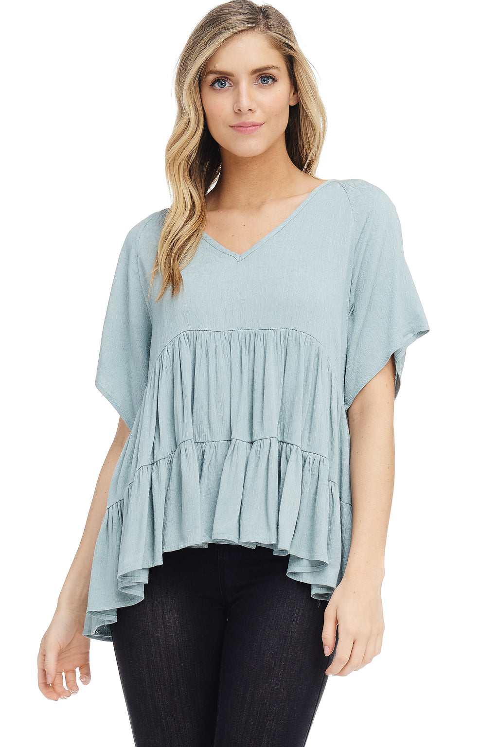 *Pre-Order* W18-161 Textured Tiered Ruffle Blouse