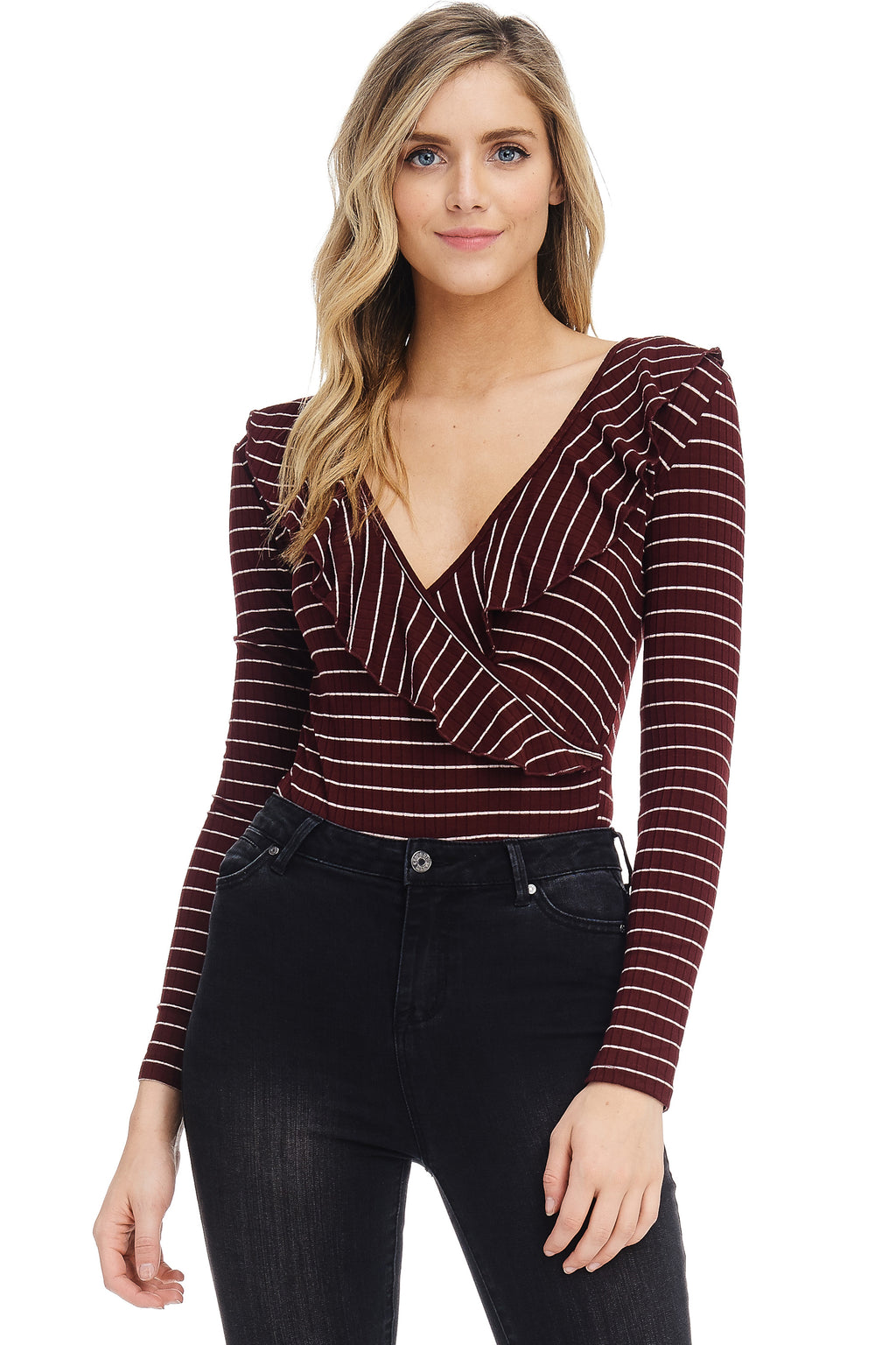 *Pre-Order* W18-193 Striped Surplice Bodysuit