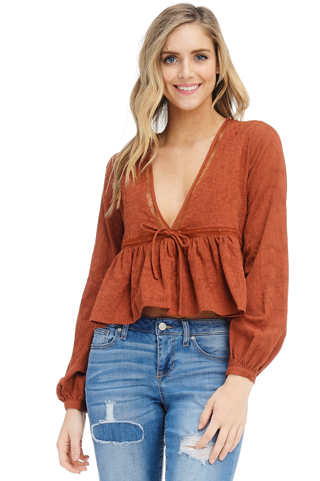 *Pre-Order* W18-205 Textured Cropped Blouse