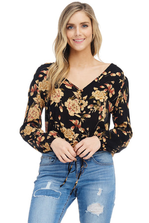 *Pre-Order* W18-252 Floral Buttoned Top