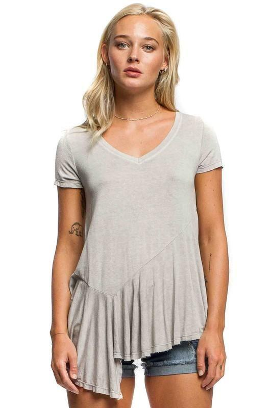 Asymmetrical Gathered Hem T-Shirt