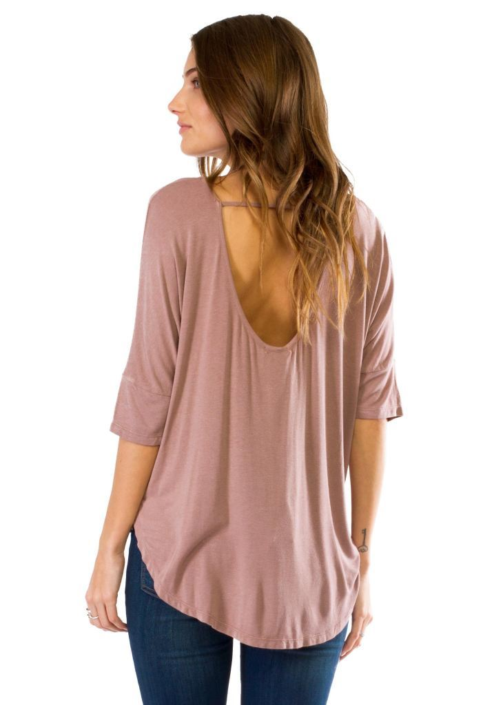 Drop Back Criss-Cross 3/4 Sleeves Blouse Top