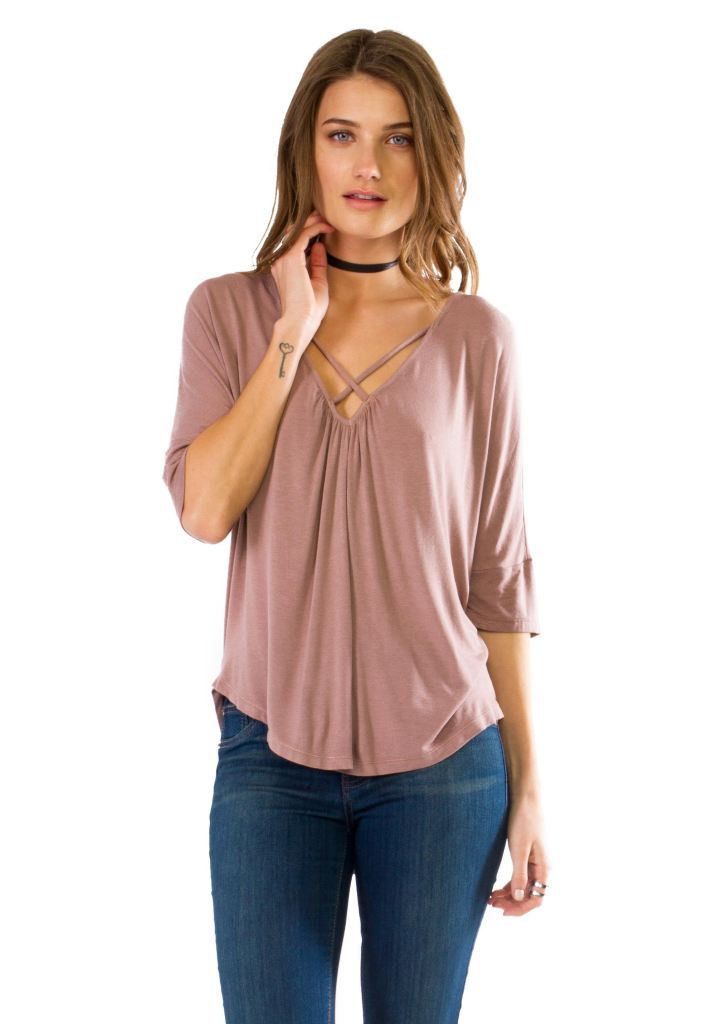 Drop Back Criss-Cross 3/4 Sleeves Blouse Small Top