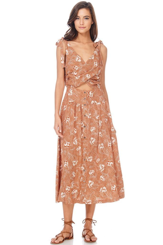 Floral Twist Bra Cut Out Midi Dress Small / Butterscotch Dress
