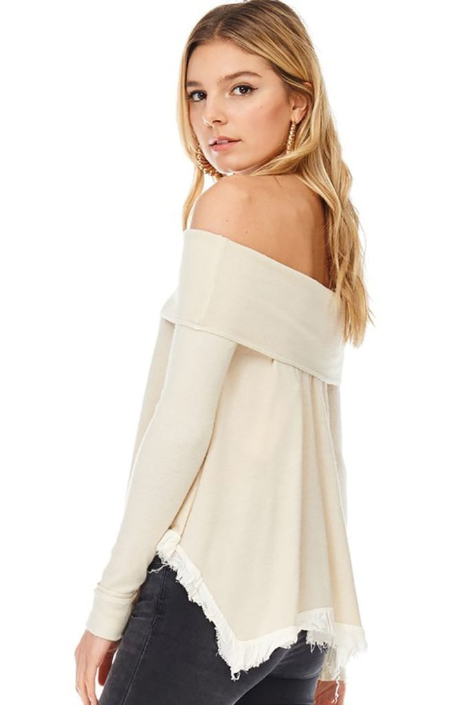 Handkerchief Hem Off Shoulder Knit Blouse Top