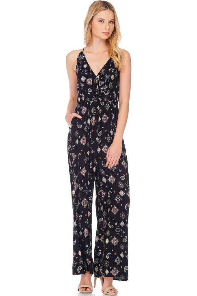 Paisley Print Open Back Jumpsuit Small Jumpsuit