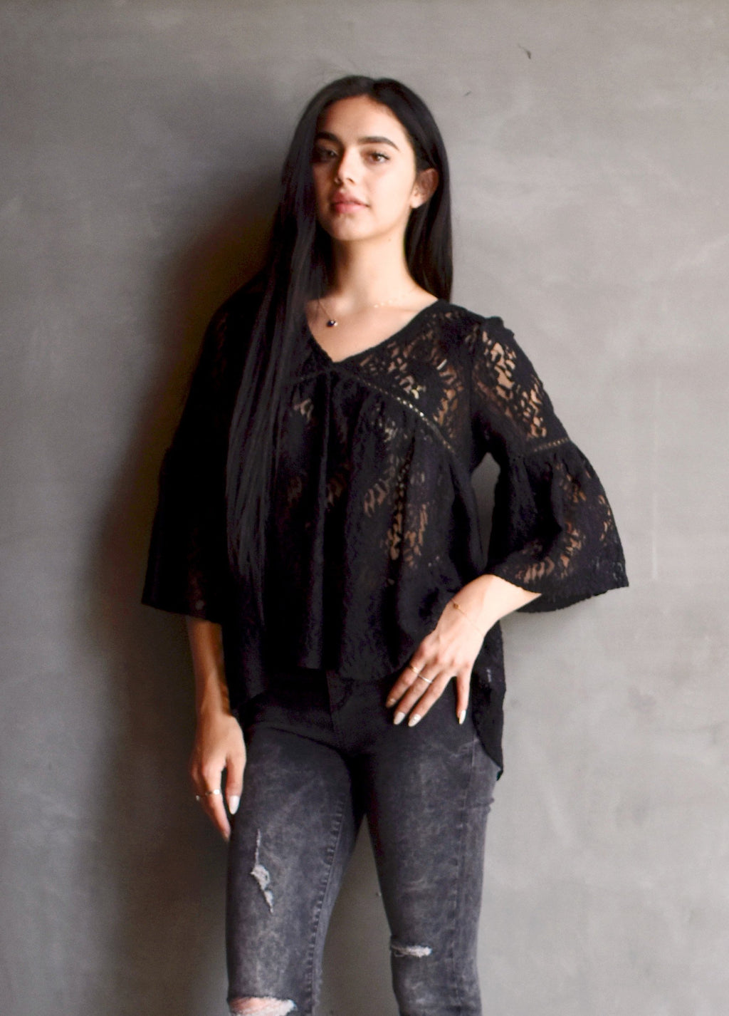 S17-203 Lace Crochet Yoke Blouse