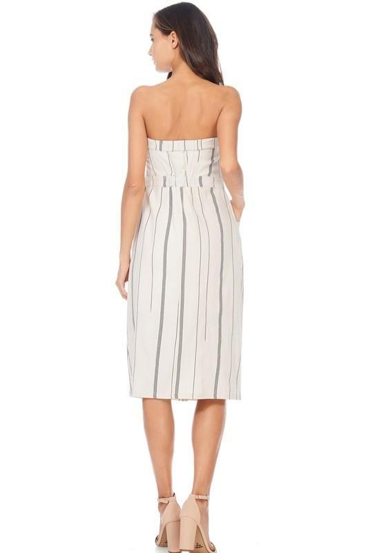 Strapless Striped Linen Midi Dress