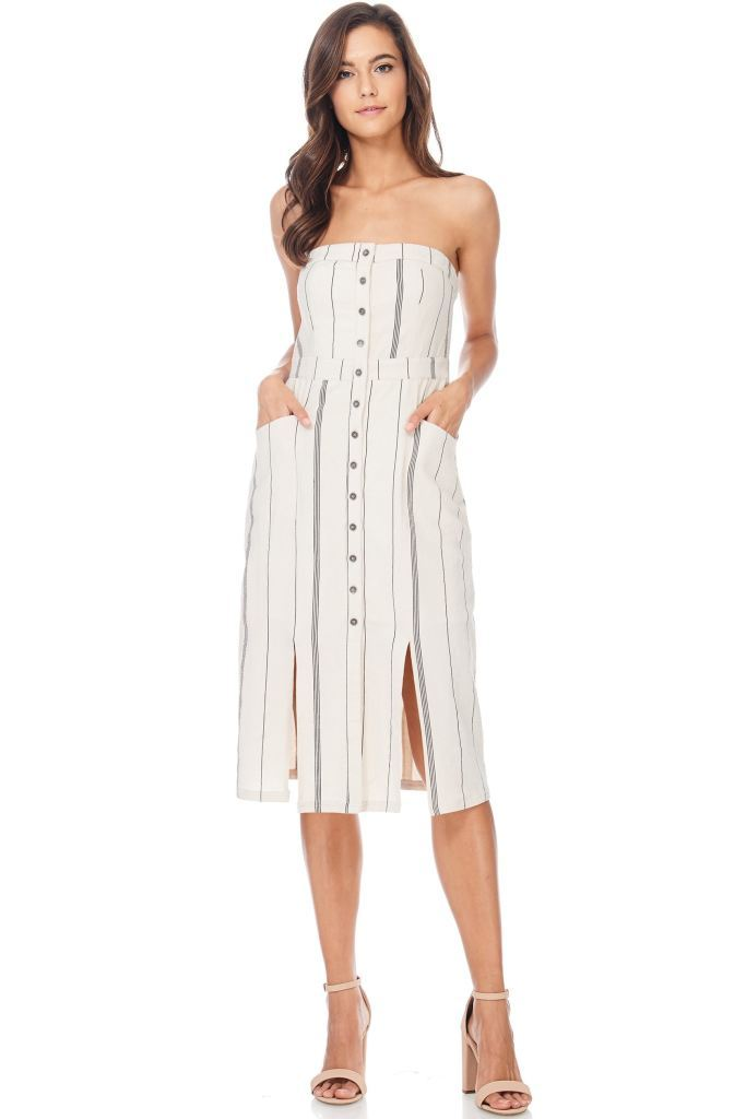 Strapless Striped Linen Midi Dress Small