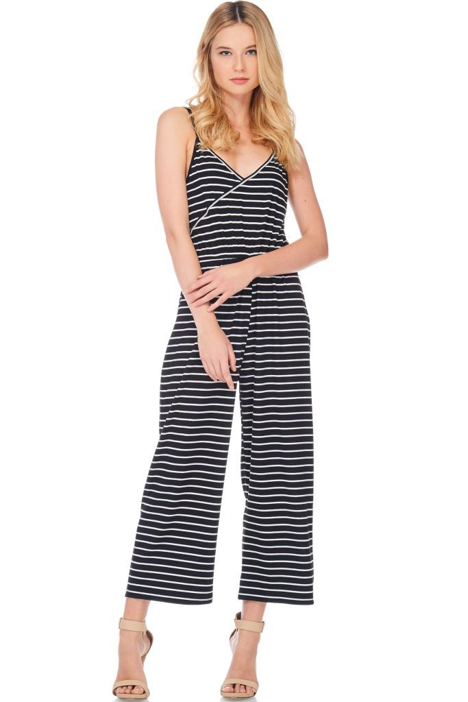 Striped Surplice Cami Romper