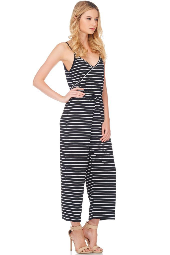 Striped Surplice Cami Romper Small
