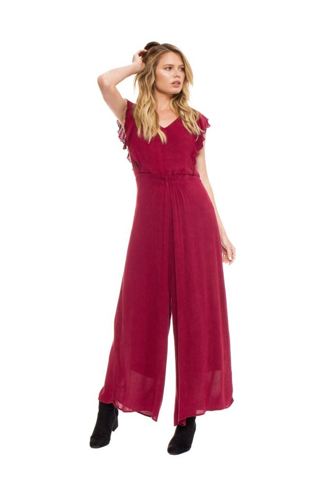 Wide Leg Ruffle Shoulder Sleeveless Jumpsuit Dresses/jumpsuits