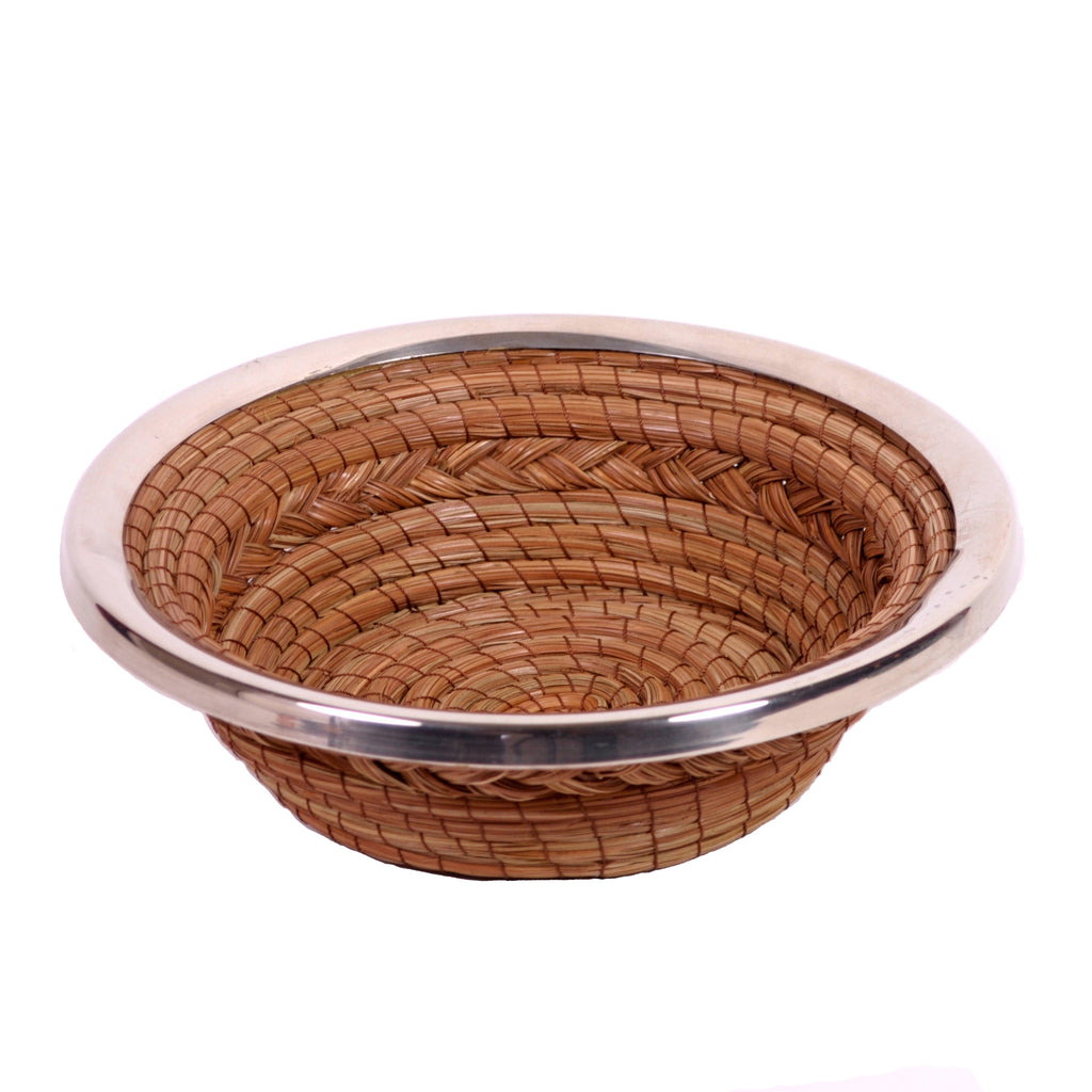 "Tapered Round 10"" Pine Needle Basket with Metal Rim"