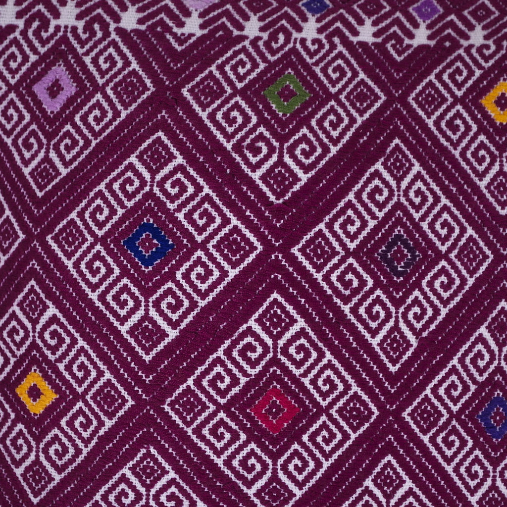 Hand-Embroidered Magenta Pillow from Chiapas