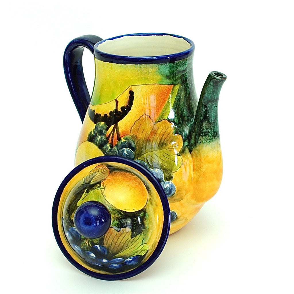 "Santa Rosa Majolica Large ""Still Life"" Coffee Pot"