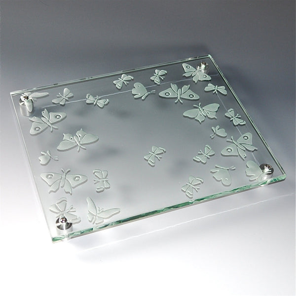 "Etched Glass Cheese/Sushi Plate by Juan Vargas — ""Butterflies in Flight"""