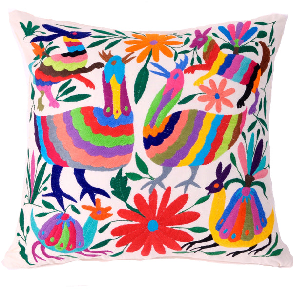Hand embroidered otomí pillows runners tlalli designs