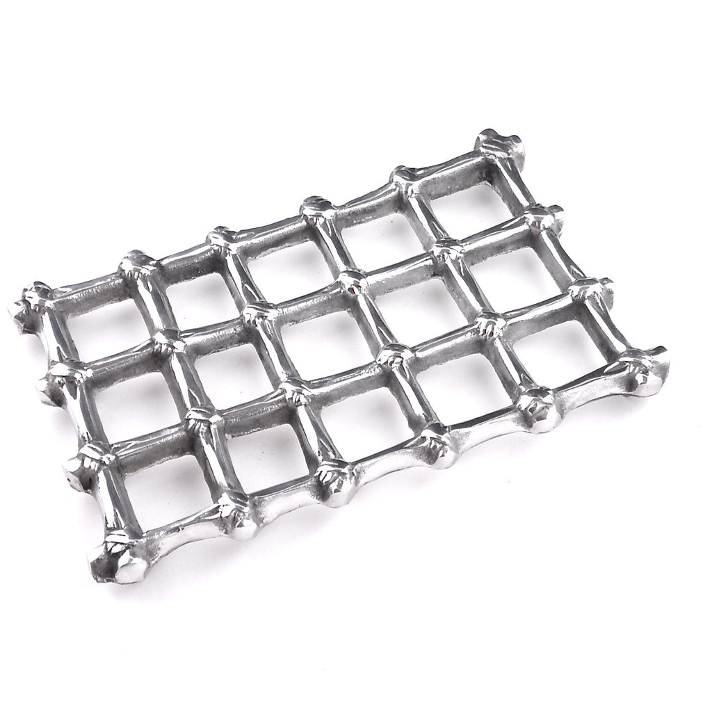 Mexican Pewter Bamboo Pattern Trivet / Hot Plate