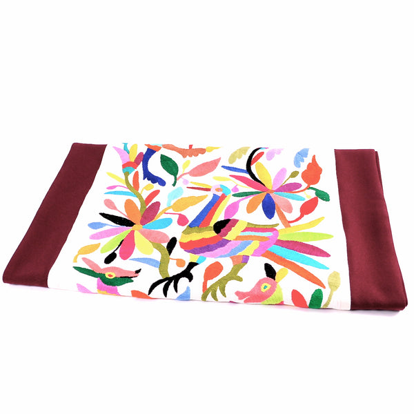 Hand Embroidered Burgundy Otomi Table Runner with Custom Finish