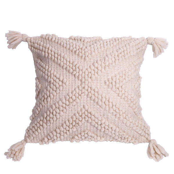 Hand-Woven Natural Wool Pillow Cover / Chervron Pattern